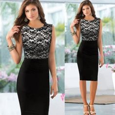 New Celeb Style Lace Splicing Ladies Black Pencil Evening Slimming Panel Tea Dress