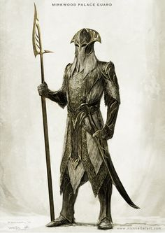 Mirkwood Palace Guard- The Hobbit, part II - Concept design as seen in The Hobbit: The Desolation of Smaug, Chronicles: Art & Design and Smaug: Unleashing the Dragon - The Art of Nick Keller