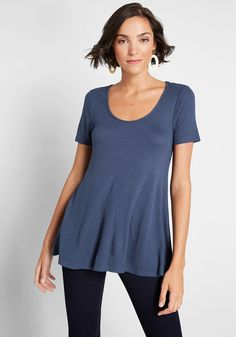 Refresh your casual wardrobe with this blue swing top from our ModCloth namesake label! A scoop neckline, A-line silhouette, and soft waffle knit fabric equip this short-sleeved piece with infinite outfitting potential. Swing Top, Other Outfits, Waffle Knit, Modcloth, Knitted Fabric, Perfect Fit, Tunic Tops, Plus Size, Clothes For Women