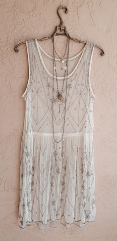 Beaded Gatsby Flapper Dress with sheer mesh