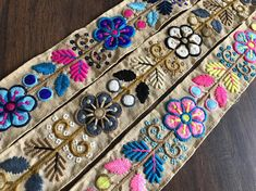 Your place to buy and sell all things handmade Indian Fabric, Sari Fabric, Brocade Fabric, Floral Fabric, Creative Embroidery, Folk Embroidery, Hand Embroidery Designs, Embroidery Suits, Ribbon Art