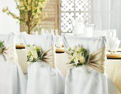 Decorate chair backs with white freesias, roses and stephanotis Wedding Decorations, Wedding Ideas, Table Decorations, Chair Backs, Chair Covers, Special Occasion, Wedding Flowers, Birthdays, Texas
