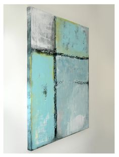 Large abstract painting  Turqouise Blue  Acrylic door RonaldHunter, $259.00