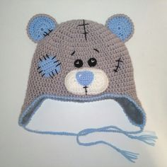 Crochet bear hat patches stitches - russian