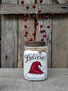 Believe Mason Jar, Santa Hat, Believe, Christmas Decor, Christmas Mason Jar Christmas Projects, Holiday Crafts, Christmas Holidays, Christmas Decorations, Christmas Ornaments, Christmas Ideas, Mason Jar Art, Mason Jar Gifts, Christmas Mason Jars