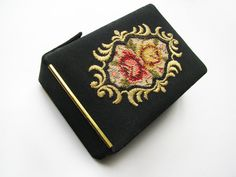 Vintage Cigarette Case Black with Roses Embroidered by MyChouChou, $28.00