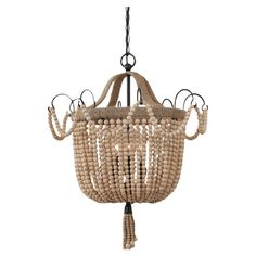 Cast a warm glow in your entryway or dining room with this lovely pendant, showcasing a twine-wrapped frame and beaded details.   Produc...