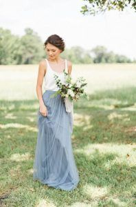 dusty blue long two pieces bridesmaid dress
