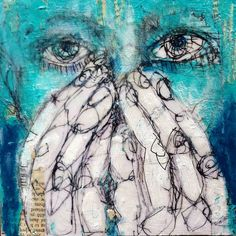 Breath/speech(less) 2 by Kat Ostrow  ... multimedia on 6 by 6 inch wood panel .... in private collection