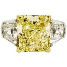 8.01 Carat Natural Fancy Yellow Diamond Platinum Ring