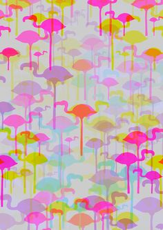 Near-fluorescent flamingo patterned wallcovering #cuteshit
