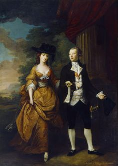 The first Lord and Lady Scarsdale walking in the grounds of Kedleston Hall by Nathaniel Hone, 1761