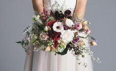 asymetrical bouquet with pinks, maroons, can add more purples and lilacs is this too busy for you