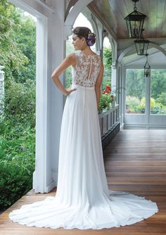 Sweetheart Gowns - Style V-Neck Chiffon A-line Gown with Beaded Illusion Back Bodice Lace Back Wedding Dress, Bridal Wedding Dresses, Dream Wedding Dresses, Wedding Day, Wedding Stuff, Sweetheart Gowns, Sweetheart Bridal, Yes To The Dress, New Dress