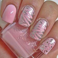 pink and metallic nail art