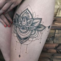 Lotus Flower Tattoo on Thigh by Sasha Masiuk