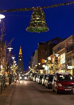 Streets decorated for the Christmas holiday, Reykjavik, Iceland, 2012, photograph by Ragnar Sigurdsson.