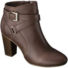 Women's Merona Kailey Dress Ankle Boot - Cognac ($17) ❤ liked on Polyvore featuring shoes, boots, ankle booties, ankle boots, fashion boots, buckle booties, short boots, cognac booties and zip ankle boots