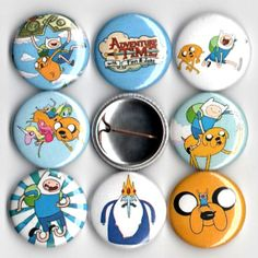 $4 Adventure Time with Finn and Jake pin button set of 8 pinbacks 1""