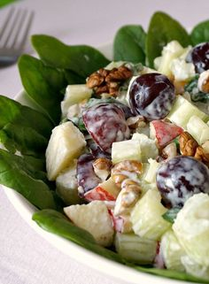 Best ever Waldorf salad recipe - a close-up shot to shot the freshness of the ingredients