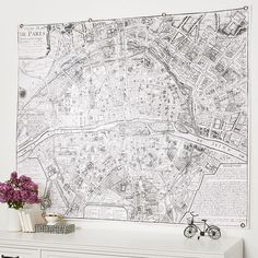 """PB Teen Paris Map Tapestry, 55x68"""" ($99) ❤ liked on Polyvore featuring home, home decor, wall art, paris home decor, map home decor, tapestry wall art, paris wall art and parisian wall art"""