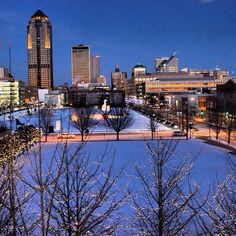 Downtown Des Moines sparkles at nightfall, especially with a covering of snow. Share your #midwestmoment on Instagram: http://www.instagram.com/midwestlivingmag
