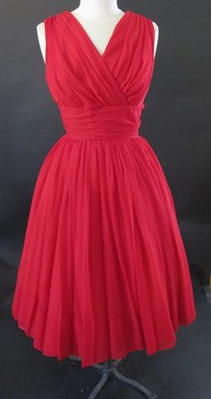 1950's Vintage Red Chiffon Party Dress