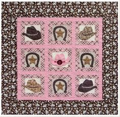 Lucky Cowgirl Applique Quilt Pattern with Embellishments by Pink Hippo Quilts