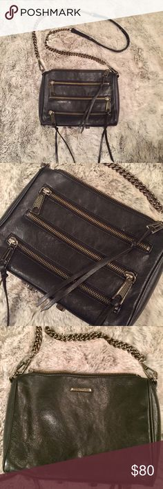 REBECCA MINKOFF leather crossbody purse Three zip black leather moto crossbody bag. Missing one leather tassel from zippers but (if desired) can be replaced by grabbing a strip of leather from a fabric / craft store. In gently used condition. You can see the coloring of the strap chain and clip to bag is slightly discolored. Great edgy look for your 'night on the town with girlfriends' outfit! Rebecca Minkoff Bags Crossbody Bags