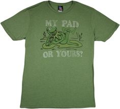 """This licensed Muppets shirt by Junk Food features Kermit the Frog asking """"My Pad or Yours? Frog T Shirts, Tee Shirts, Junk Food Tees, Kermit The Frog, Fabric, Mens Tops, Cotton, Clothes, Tejido"""