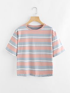 9a97071c5633 Shop Contrast Wide Striped Tee online. SheIn offers Contrast Wide Striped  Tee   more to