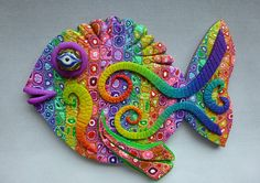 Rainbow Heart 3D Large Fish Magnet or Wall Art by MysticDreamerArt, $15.00