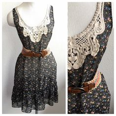 New Listing! Floral Ruffle Sheer Dress by Fei Such a pretty and feminine dress by Fei. Size Medium, runs a tad small in my opinion. I'm a 6/8 and found this a bit snug on my hips. Would be a better fit for a slim 6 or smaller. No slip included, I wore this with a long tank and leggings. Adorable belted and layered with chunky sweaters!! Excellent used condition. Anthropologie Dresses