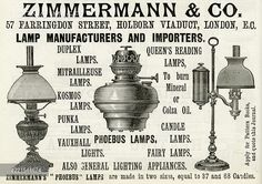 Advert in Zimmermann & Co. lamps 1888