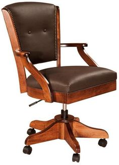 Berkshire Amish Desk Chair Custom made Amish desk chairs in choice of wood, finish and upholstery at DutchCrafters! The Berkshire offers 6 base styles to choose from. #luxuryofficeufurniture #deskchair