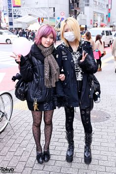 Japanese Girls Street Style in Shibuya. Not quite sure what the mask is for, but I know I love everything else!
