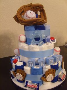 Baby shower gifts for boys baseball diaper cakes 46 ideas Fiesta Baby Shower, Baby Shower Fun, Baby Shower Gender Reveal, Baby Shower Themes, Baby Shower Decorations, Baby Shower Gifts, Baby Gifts, Shower Ideas, Baby Showers