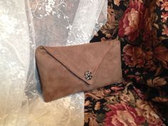 Dark Taupe Faux Suede Envelope Clutch – Taupe Evening Purse – Taupe Bridesmaid Clutch Purse – Bridal Purse by TintenfleckStudio on Etsy