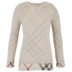 Burberry Girls Beige Knit Nova Check Jumper | AlexandAlexa