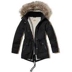 Hollister Heritage Sherpa Lined Parka (6,760 PHP) ❤ liked on Polyvore featuring outerwear, coats, jackets, black, parka coats, fur coat, fur parka coat, fur-lined parkas and cinch coats