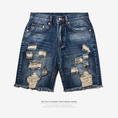 abe4eab64bf3 INFLATION 2017 Men s Hightstreet Casual Shorts Mens Denim Shorts Slim  Regular Casual Knee Length Short Hole