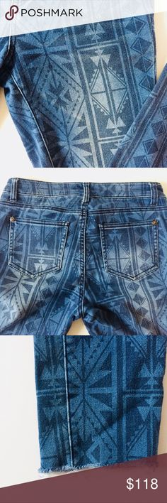"vintage aztec print jeans so perfectly broken in inseam 26""  not seven. just listed for exposure. Seven7 Jeans Ankle & Cropped"
