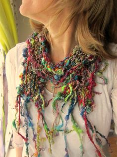 handknit silk wool rustic gypsy patchwork scarf  by beautifulplace, $49.00
