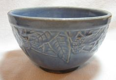 Early Embossed Blue Mixing Bowl