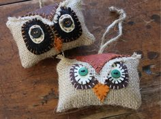 Burlap Owl Ornaments | Burlap Owl Ornaments Ornies Set of Two By reginacmoore @Etsy: SOLD ...