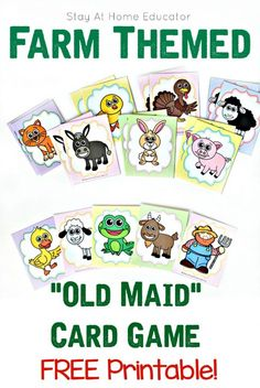 Farm Theme Printable - Old Maid Card Game for Preschoolers