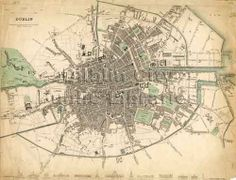 Global Gallery Dublin, Ireland, 1836 Framed Graphic Art on Canvas Size: Dublin Ireland Map, Canvas Art, Canvas Prints, Canvas Size, Art Prints, Irish Art, Wall Maps, Wall Mural, Historical Maps