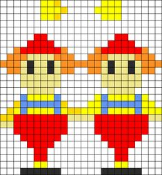 Tweedle Dum And Tweedle Dee Perler Bead Pattern / Bead Sprite Beaded Cross Stitch, Modern Cross Stitch, Cross Stitch Designs, Cross Stitch Patterns, Melty Bead Patterns, Perler Patterns, Beading Patterns, Diy Perler Beads, Perler Bead Art