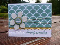 Megumi's Stampin Retreat, Stampin' Up! Striped Scallop Die, Fun Flower Punch, Stampin' Up! Amazing Birthday Stamp Set