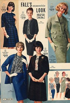 Stylish fall ensembles from fashion catalogs early era boxy suit jackie o style jacket skirt shell top blouse black blue floral striped plaid grey white print ad 60s And 70s Fashion, 60 Fashion, Fashion Photo, Retro Fashion, Autumn Fashion, Vintage Fashion, 1960s Outfits, Vintage Dresses 1960s, Vintage Outfits